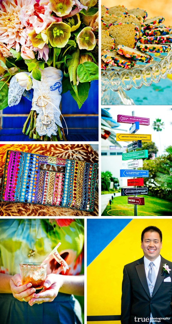 San Diego Wedding Photographers: Rainbow color theme wedding, rainbow flowers, bright colored wedding jewelry, bright color accessories