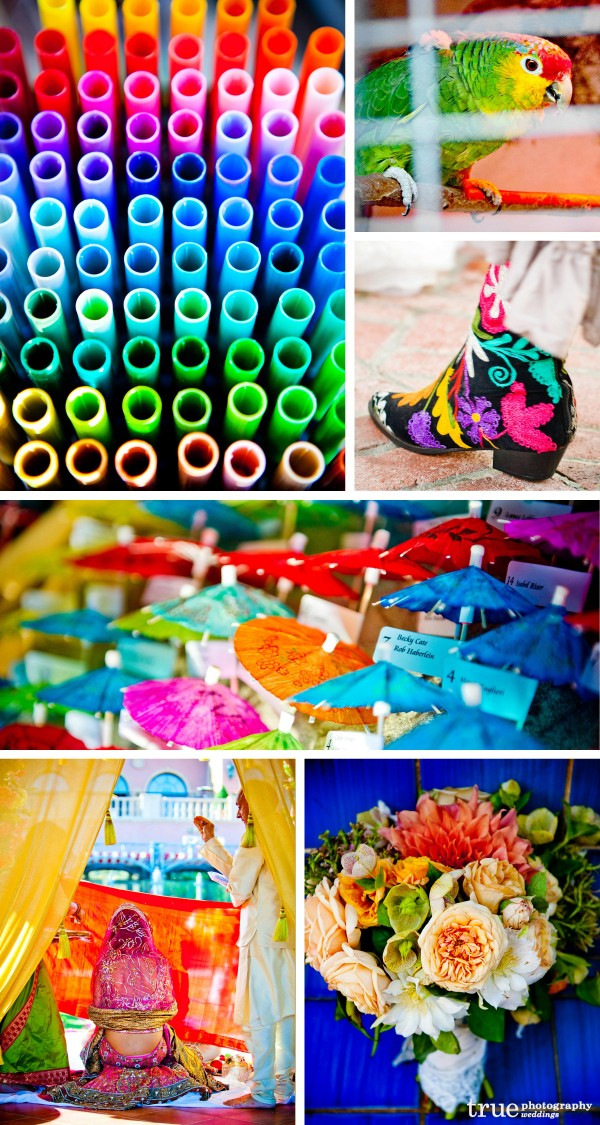 San Diego Wedding Photography: Raindbow wedding color theme, multi-color wedding photos, bright wedding photos, rainbow place cards