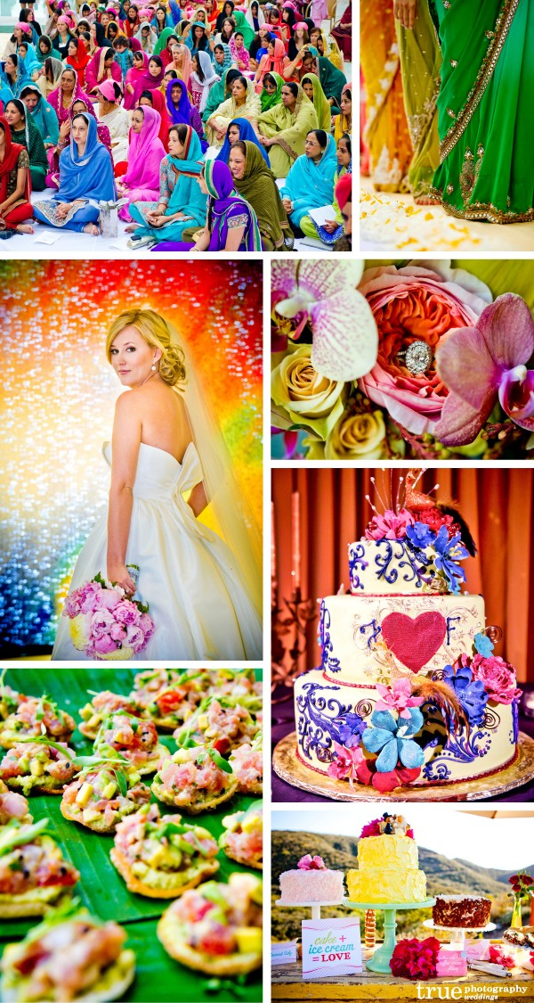 San Diego Wedding Photography: Rainbow wedding colors, rainbow theme wedding, bright colored wedding photos, colorful Indian wedding