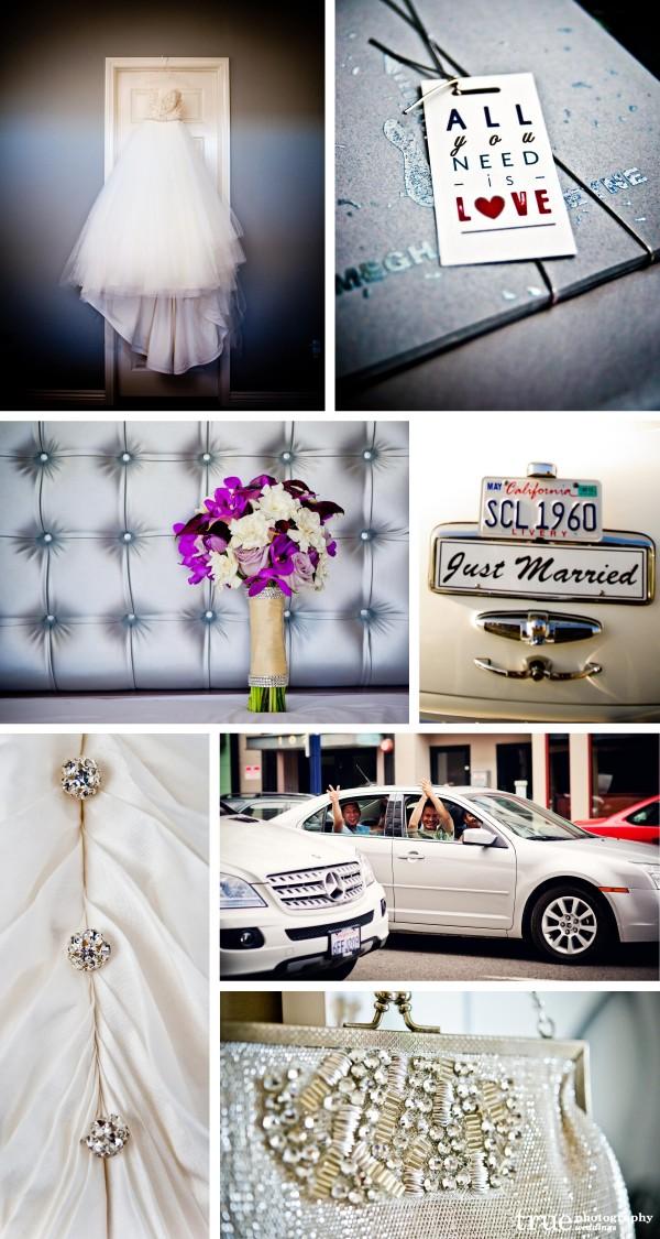 San Diego Wedding Photography: Silver wedding color photos, silver wedding invitations, silver wedding shoes, silver details, silver wedding bouqets