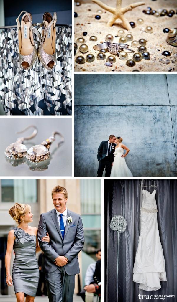 San Diego Wedding Photography: Silver wedding photos, silver wedding backgrounds, white gold wedding bands, silver wedding details