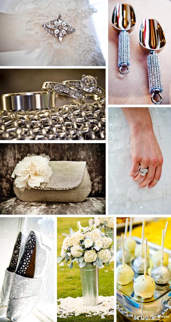 San Diego Wedding Photographers: Silver wedding photos, wedding rings and silver wedding decor, silver wedding details, candy scoops