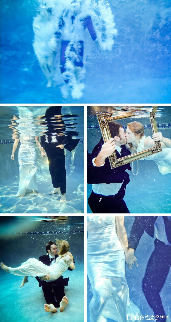 San Diego Wedding Photographers: Photograph underwater engagement shoot with bride and groom in wedding attire kissing and holding hands