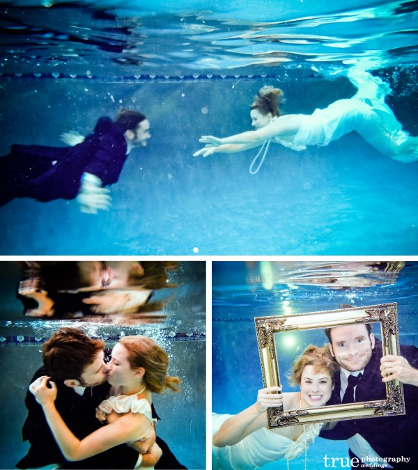 San Diego Wedding Photographer: Bride and groom swimming towards eachother in underwater engagement shoot and kissing underwater