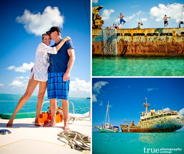San Diego Wedding Photographer: Destination Wedding in the Caribbean snorkeling with bridal party