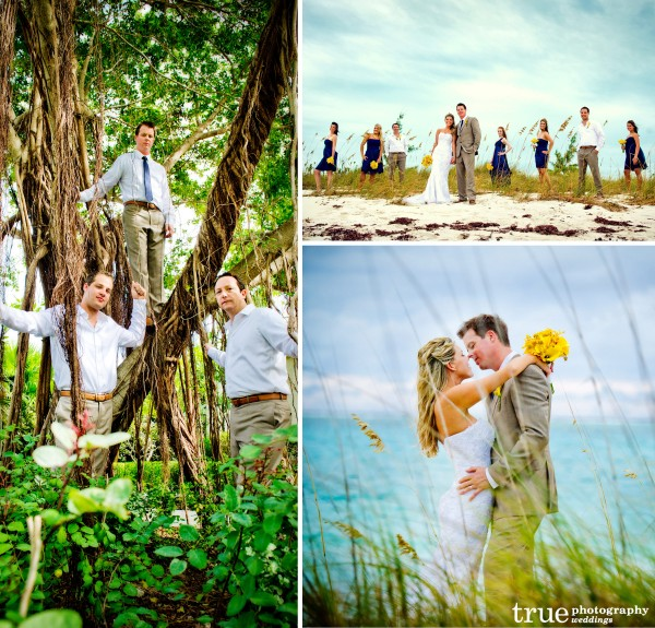 San Diego Wedding Photographers: Destination wedding in Turks and Caicos with bridal party and bride and groom on the beach