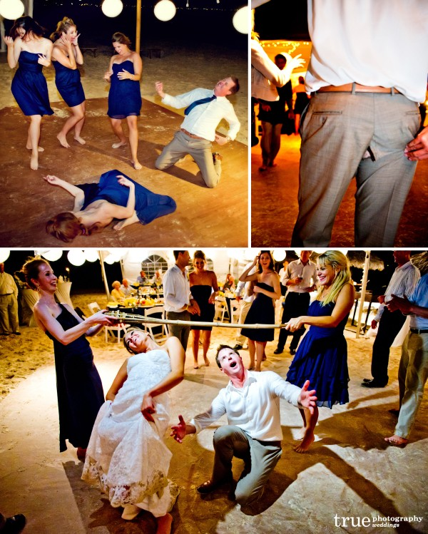 San Diego Wedding Photography: Destination weddingin Turks and Caicos dancing on the dance floor, limbo and groom splitting pants
