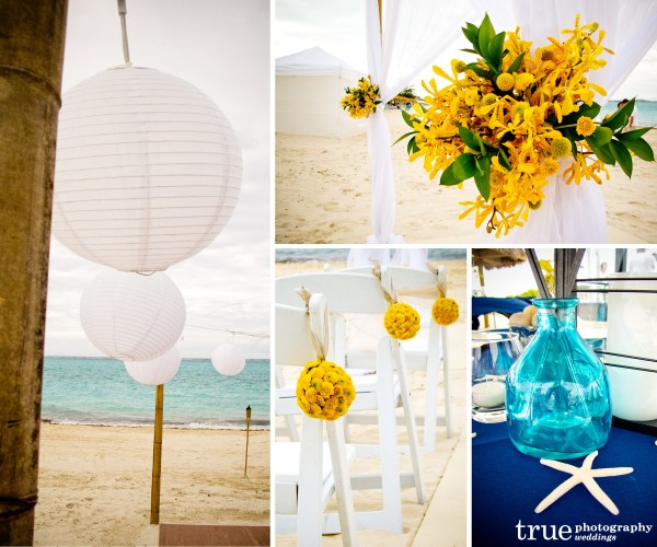San Diego Wedding Photographers: Turks and Caicos destination wedding details with white Chinese lanterns, yellow florwers and blue galss vase centerpiece