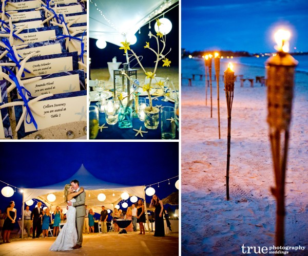 San Diego Wedding Photographers: Destination wedding in the Caribbean with tiki torches, outdoor lighting, dance floor, sand dollar escort cards and beach theme