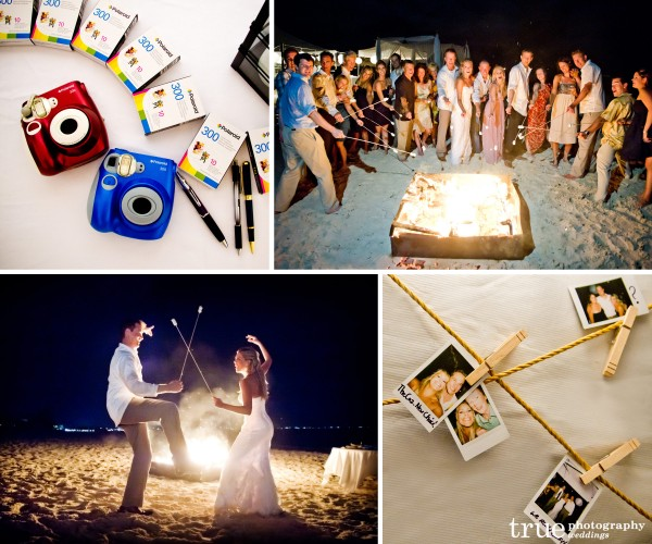San Diego Wedding Photographer: Destination wedding with Polaroids and guest roasting marshmallows