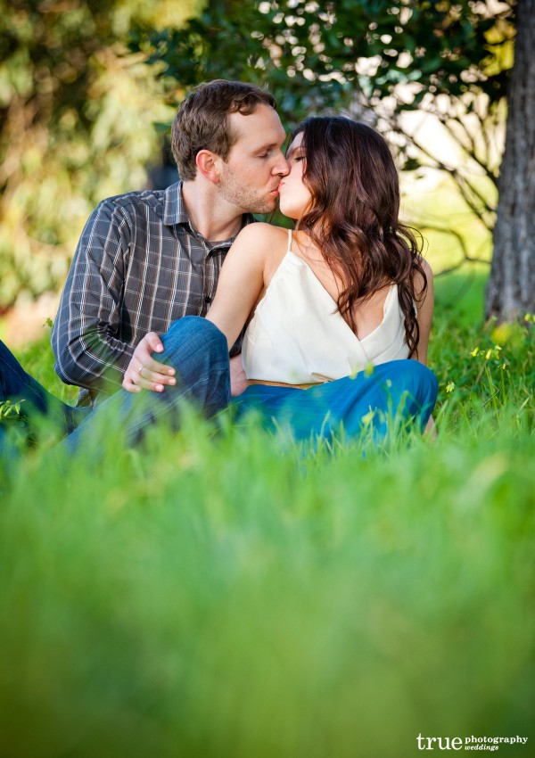 San Diego Wedding Photography: Romantic engagement photos in a field in San Diego