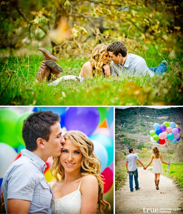 San Diego and Orange County Wedding Photography: Romantic engagement shoot in nature walking in a field