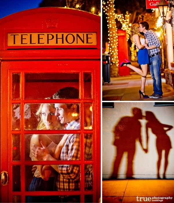 San Diego Wedding Photographers: Engagement shoot in downtown Laguna Beach at night in telephone booth and shadows on the wall