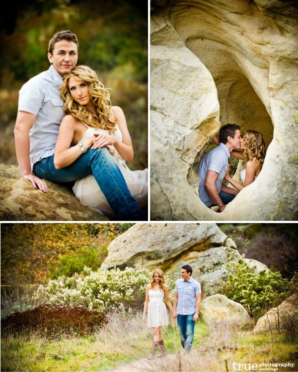 San Diego Wedding Photographers: Engagement shoot in nature with rocks and trees