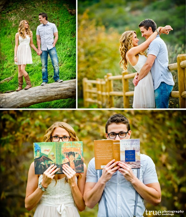 San Diego and Orange County Wedding Photography: Engagement shoot in a field with books and glassy being goofy