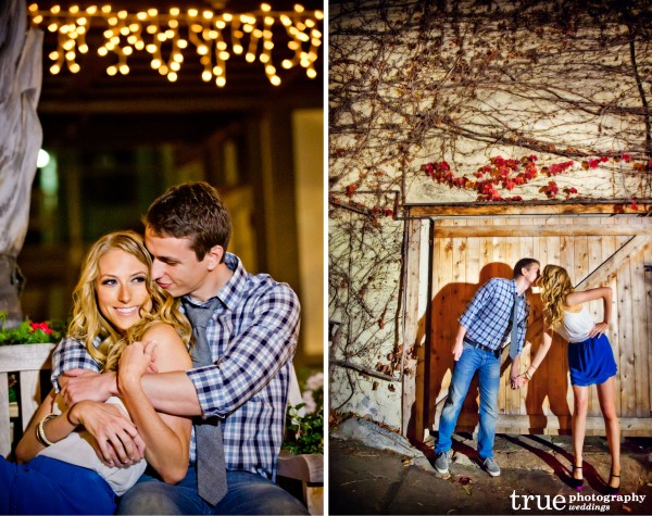 San Diego Wedding Photography: Romantic downtown Laguna Beach night engagement shoot