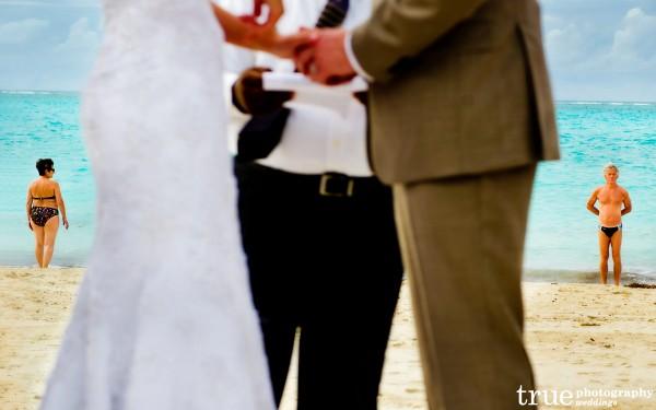 San Diego Wedding Photography: Destination Wedding on the beach in the Caribbean funny photo man in speedo