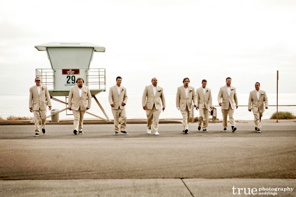 San Diego Wedding Photography: Photo of groommen walking at beach Wedding in San Diego