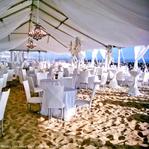 San Diego Wedding Photography:  San Diego beach wedding reception with tent