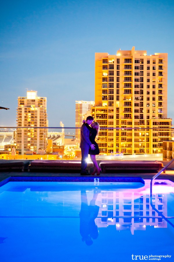 San Diego Wedding Photography: Engagement photo shoot in San Diego at the Andaz Hotel Ivy Rooftop