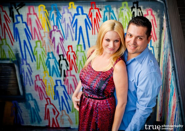 San Diego Wedding Photography: Downtown San Diego engagement shoot in front of colorful wall