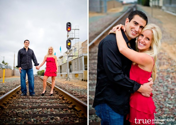 San Diego Wedding Photography: Engagement Photo Shoot on the train tracks in San Diego