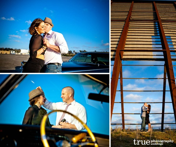 San Diego Wedding Photography: Engagement photos with old Cadillac at the Oceanside Drive in
