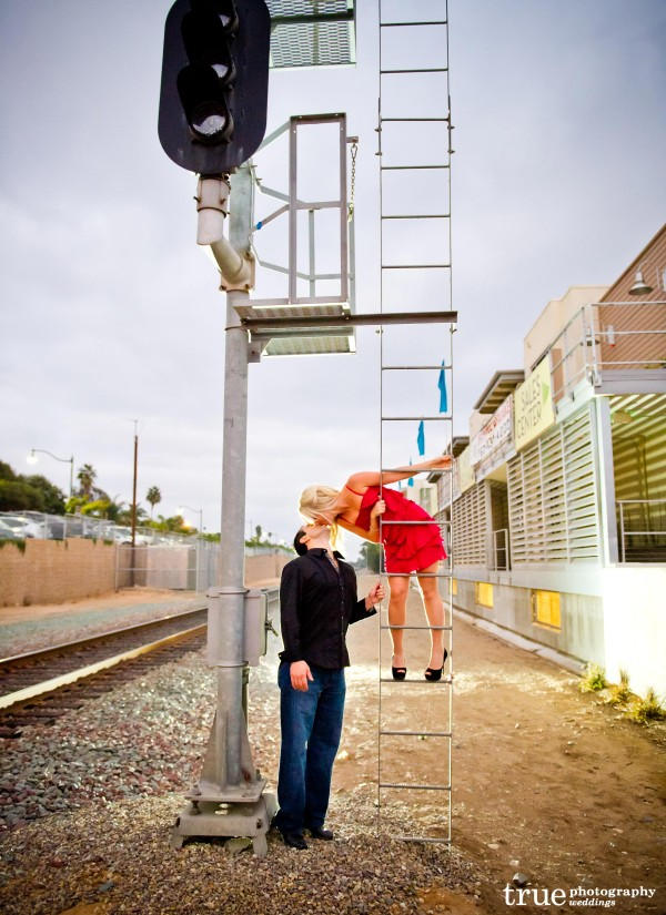 San Diego Wedding Photography: Engagement photo shoot on the train tracks in Encinitas