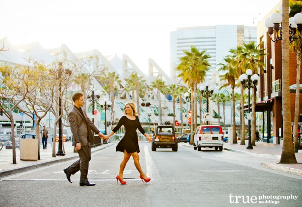 San Diego Wedding Photography: Photograph of couple walking down street in San Diego