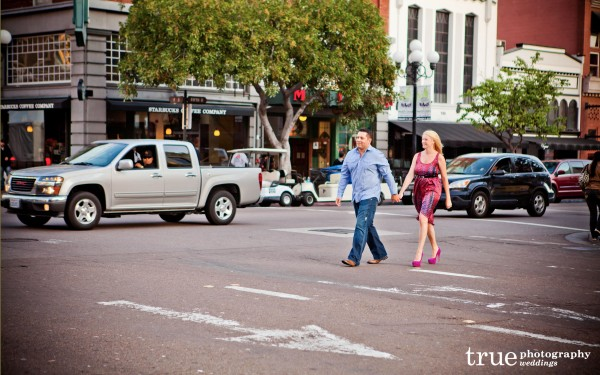 San Diego Wedding Photography: Downtown San Diego Engagement Shoot walking in the street