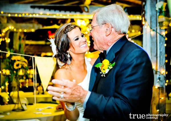 San Diego Wedding Photography: Bride and grandfather dancing at wedding reception at Bernardo Winery
