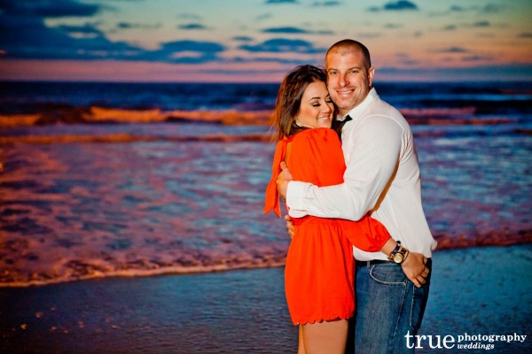 San Diego Wedding Photography: Beach engagement shoot in San Diego at night