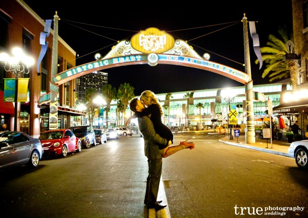 San Diego Wedding Photography: Night time engagement photo shoot in downtown San Diego