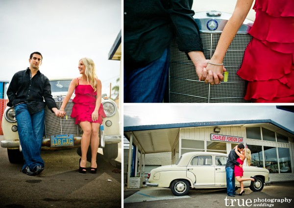 San Diego Wedding Photography: Engagement Photo Shoot San with old fashioned car
