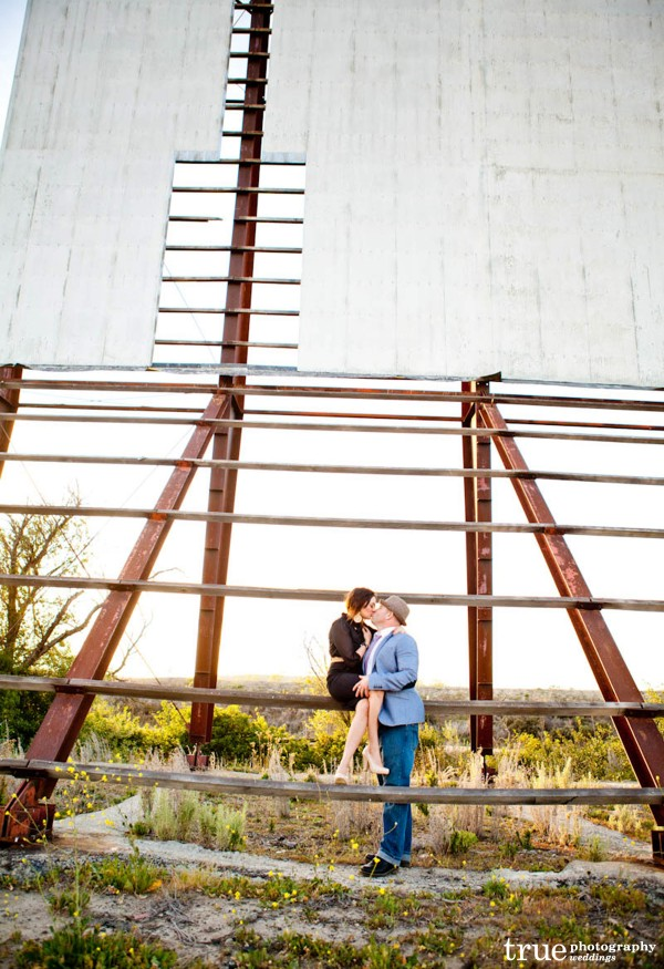 San Diego Wedding Photography: Romantic engagement Photo Shoot at the Drive-In Theatre