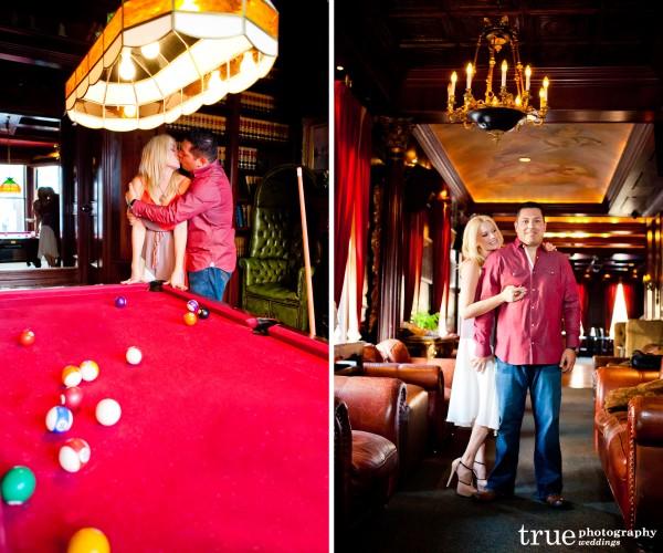 San Diego Wedding Photographers capture engagement photo shoot in an urban San Diego bar