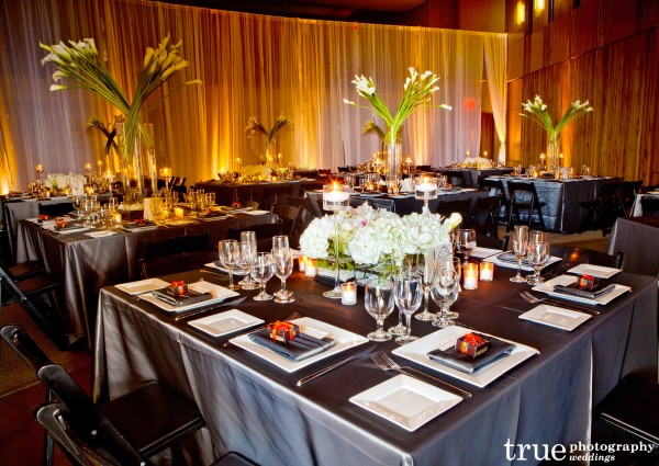 Sheet wall to wall draping at Scripps Seaside Forum wedding in San Diego