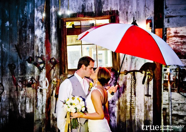 San Diego Wedding Photographers: Bernardo Winery wedding photo in the rain
