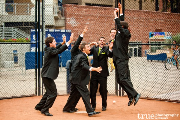 San Diego Wedding Photography: Bridal Party having fun before wedding in downtown San Diego