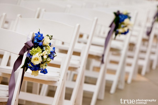 San Diego wedding flowers in the aisle by Elegant Touch Floral Designs