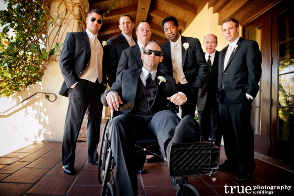 San Diego Wedding Photography: Bridal Party tells you to break a leg at San Diego wedding