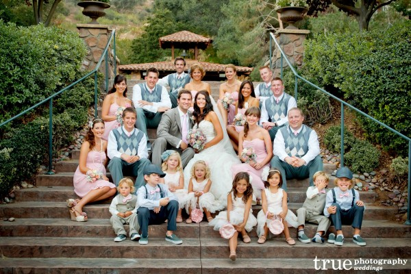 San Diego Wedding Photography: Bridal party in pale pink and grey argyle sweaters
