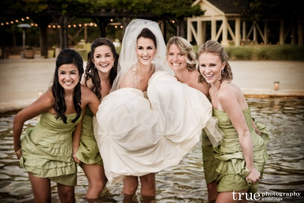 San Diego Wedding Photography: Bridesmaids in a fountain being silly