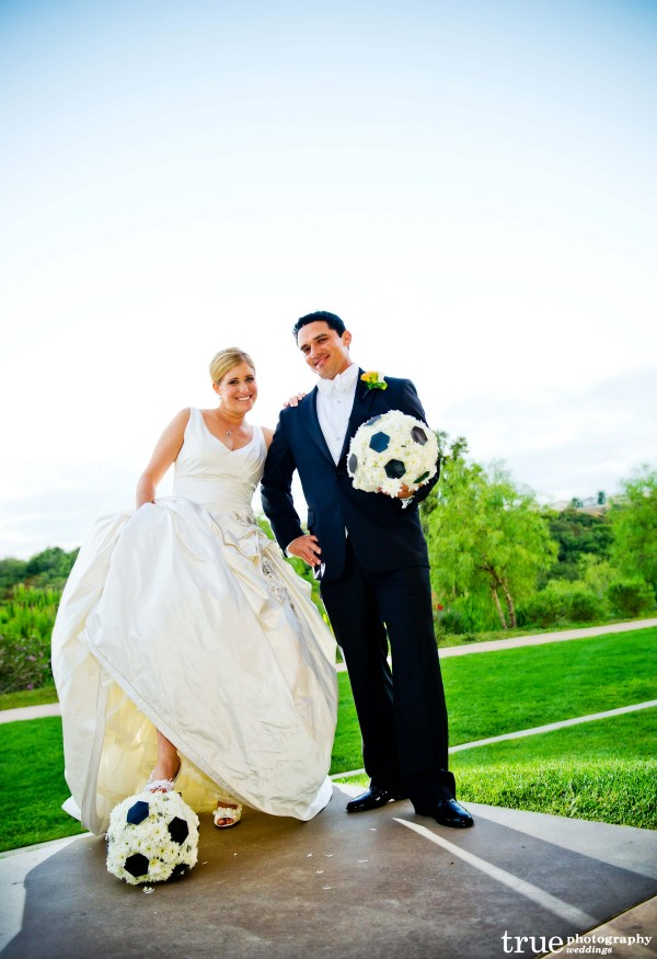 San Diego Wedding Floral Designer Kathy Wright and Co creates flower soccer balls for wedding