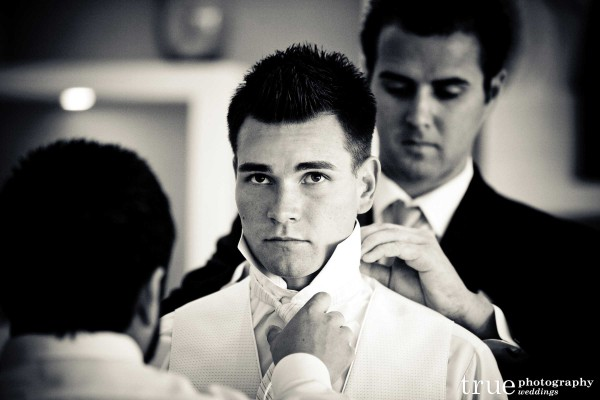 San Diego Wedding Photography: Groom getting ready for wedding ceremony