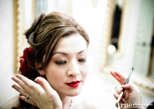 Bright red lips for wedding at the Grand Del Mar