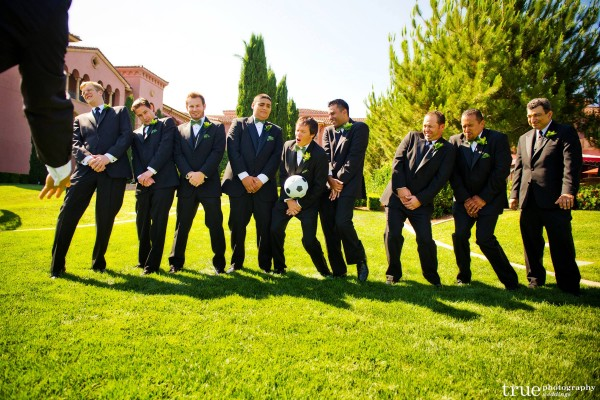 San Diego Wedding Photography: Funny wedding party photos at a soccer themed wedding at the Grand Del Mar