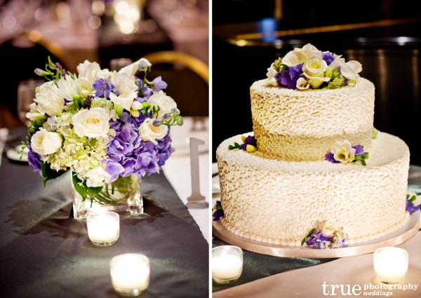 San Diego wedding flowers ceterpieces and cake by Elegant Touch Floral Designs