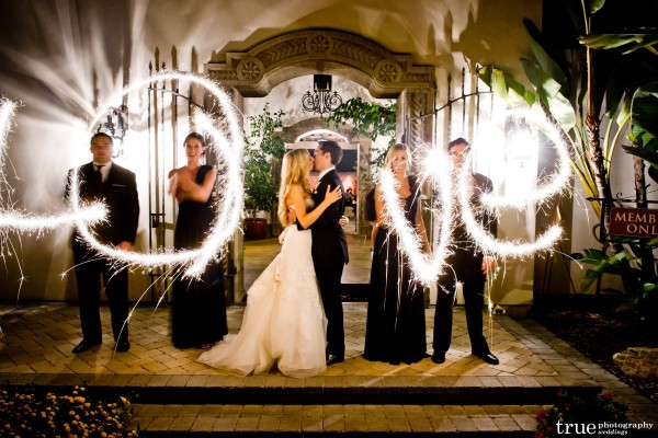 San Diego Wedding Photography: Wedding party spelling LOVE with sparklers during wedding at night