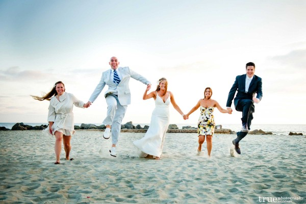 San Diego Wedding Photographer: Bride and groom on the beach during wedding at the Hotel Del Coronado